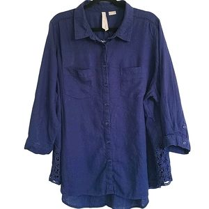 Penningtons Blue 3/4 Sleeve Tunic Lace Accent Top